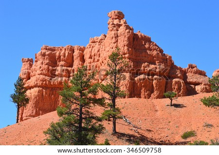 Red canyon on scenic byway 12 in Utah. - stock photo