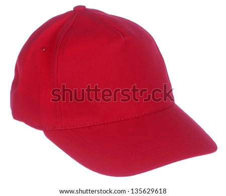 red cap isolated on white background - stock photo