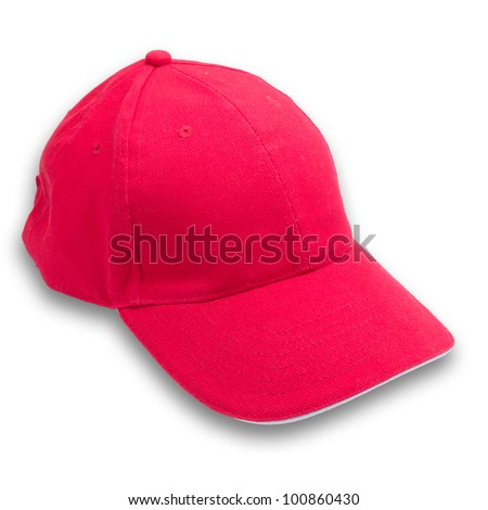 Red cap on isolated background - stock photo