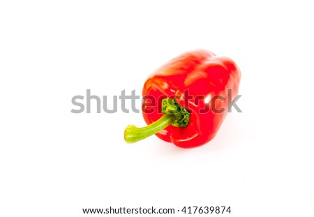 red capsicum or bell pepper isolated on white background - stock photo