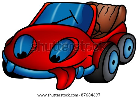Red Car - colored cartoon illustration - stock photo