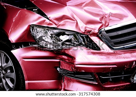 Red Car crash background - stock photo