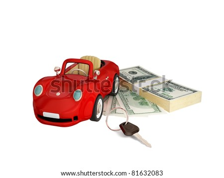 Red car, keys and dollar pack.  3d rendered. Isolated on white background. - stock photo