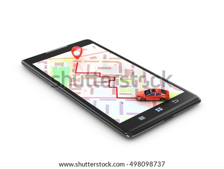 Red car on a mobile phone with a map and a GPS system. 3D illustration