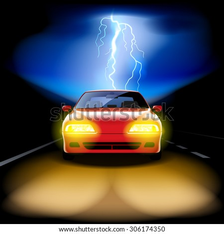Red car racing on the road at night with a lightning on the background - stock photo