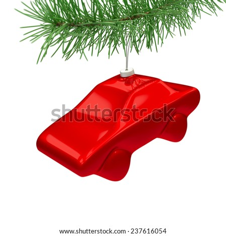 Red car toy hanging on the christmas tree isolated on white - stock photo