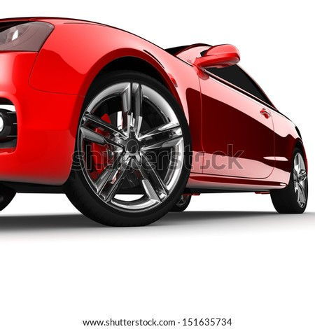 Red car white color on a white background. with shiny paint. design concept. 3d rendering modern car - stock photo