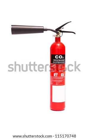 Red carbon dioxide fire extinguisher - stock photo