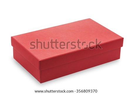 Red cardboard box on white background - stock photo