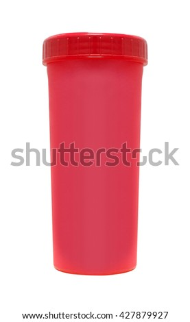 Red cardboard cup. Isolated on a white