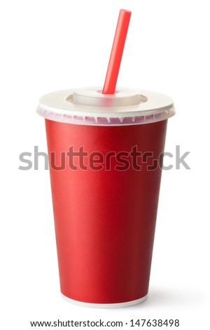 Red cardboard cup with a straw. Isolated on a white. - stock photo