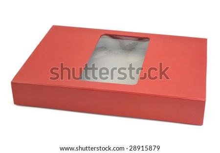 Red cardboard storage box - stock photo
