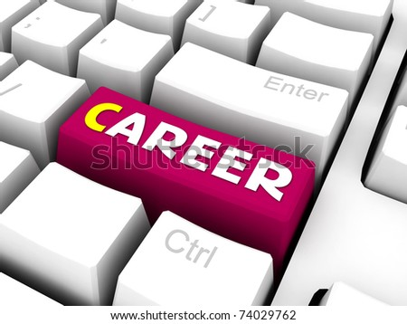 red career text on 3d keyboard