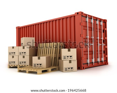 Red cargo Container on white background (done in 3d) - stock photo