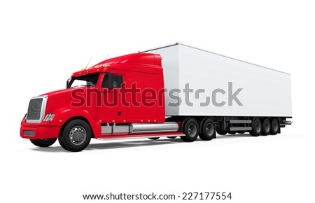 Red Cargo Delivery Truck - stock photo