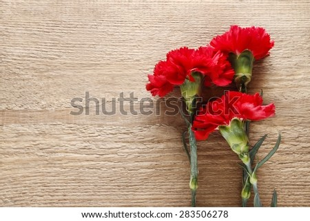 Red carnations on wooden background, copy space - stock photo