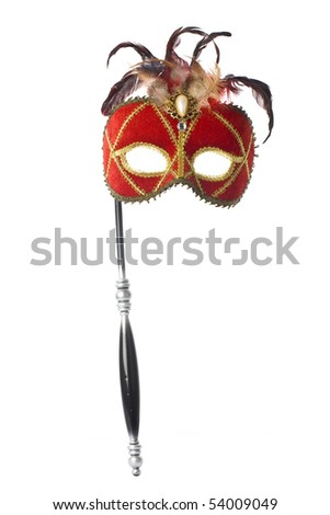Red carnival mask, on white background - stock photo