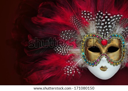 Red carnival mask with feathers  - stock photo
