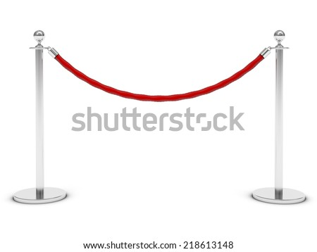 red carpet and barrier rope on white