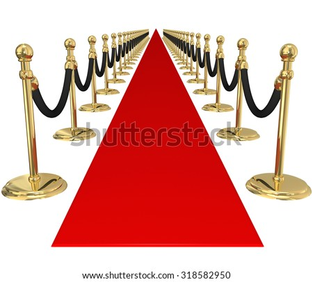 Red carpet and line of gold stanchions with velvet ropes to illustrate welcome, arrival or invitation to an important, exclusive vip party or event - stock photo