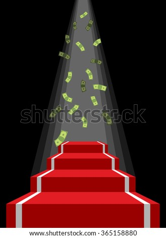 Red carpet and rain of money. Falling dollars for winner. Pedestal for lucky. Road to wealth and prosperity, luxury. - stock photo