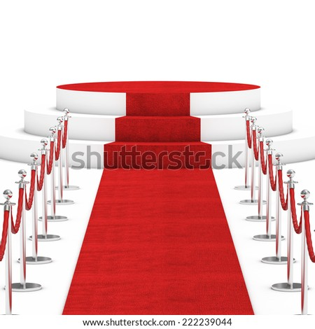 red carpet and rope barrier - stock photo