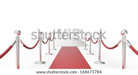 red carpet and  stanchions - stock photo