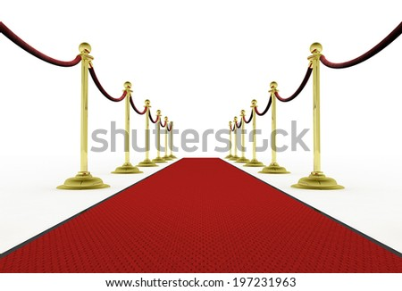 Red Carpet and Stanchions Isolated On White