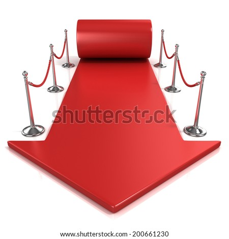 Red carpet arrow, isolated on white, front view