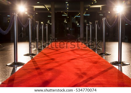 Red carpet between rope barriers.