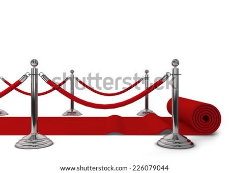Red carpet. 3d illustration isolated on white background - stock photo