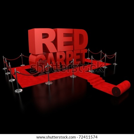 red carpet 3d illustration over over background - stock photo