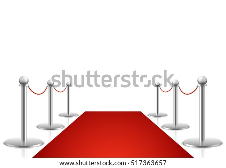 Red carpet illustration. Awards show background with carpet path, entrance to event premiere on red carpet