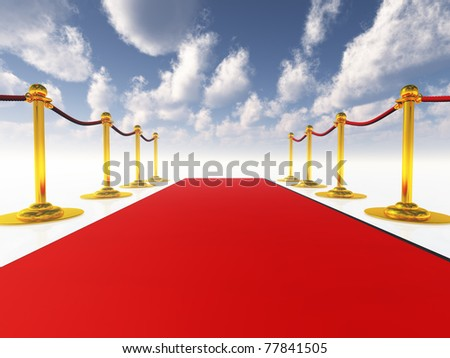 red carpet in open-space - stock photo