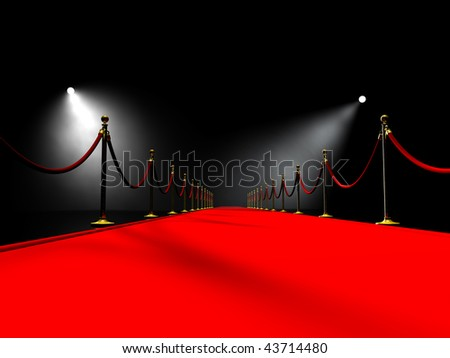 Red carpet in volume light - stock photo