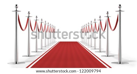 Red carpet isolated on a white background - stock photo