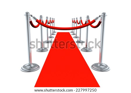 Red Carpet  no entry walk way isolated on white background