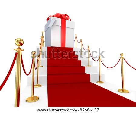 Red carpet on a stairs and gift box. 3d rendered. Isolated on white background. - stock photo