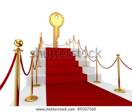Red carpet on a stairs and golden key above. Isolated on white background.3d rendered. - stock photo
