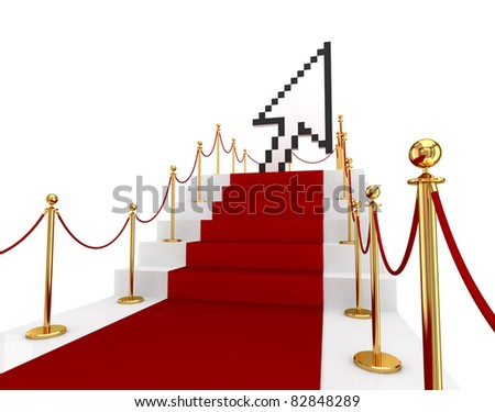 Red carpet on a stairs and large cursor. 3d rendered. Isolated on white background.