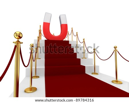 Red carpet on a stairs and large magnet above. Isolated on white background.3d rendered. - stock photo