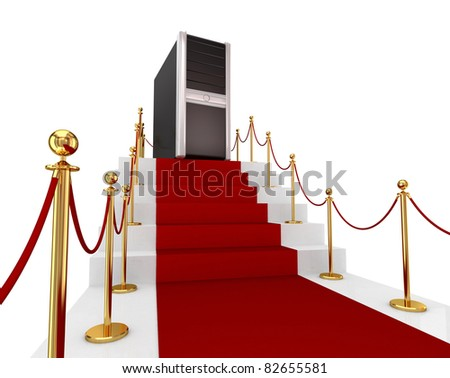 Red carpet on a stairs and PC tower. 3d rendered. Isolated on white background.
