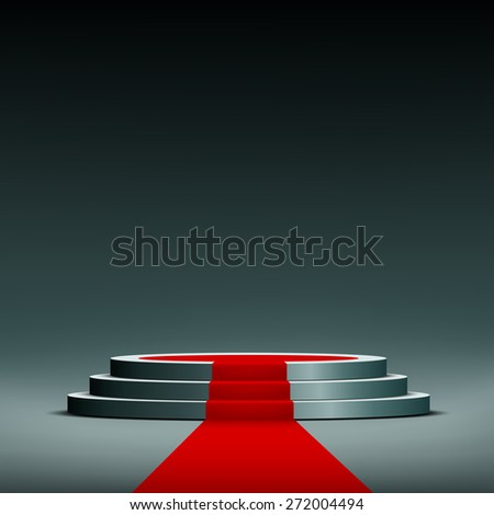 red carpet on pedestal - stock photo
