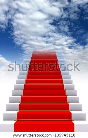 Red carpet on stairs to heaven