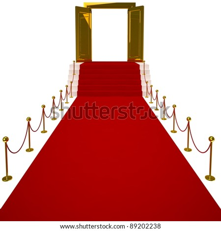 Red carpet on white background. Isolated 3D image