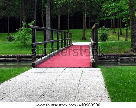 Red carpet over bridge