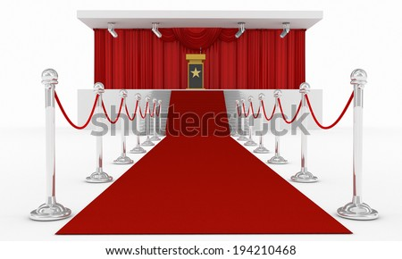 red carpet podium and spot light under lectern
