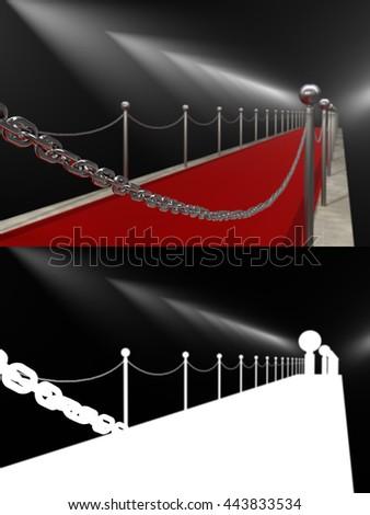 Red carpet, rewarding, spotlights. Isolated. 3D illustration - stock photo