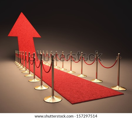 Red carpet rising arrow-shaped. Concept of success and growth. - stock photo