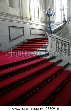 Red carpet: road to celebrity - stock photo